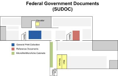 Map of Government Document Locations in the Library Basement